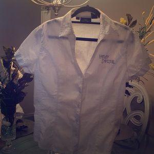 White Harley Davidson cotton short sleeve blouse